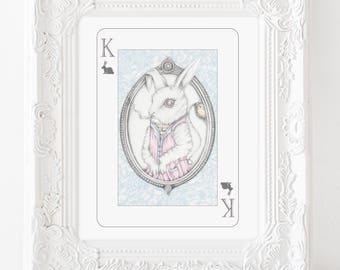 White rabbit illustration, white rabbit drawing, alice in wonderland art, wonderland illustration, alice print, playing card art, bunny art