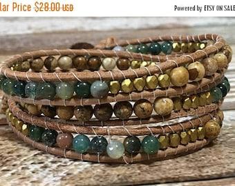 SUMMER SALE Green Chan Luu Style Wrap Bracelet / Healing Crystal Bracelet / Chan Luu Bracelet / Chakra Bracelet