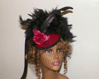 Red Gothic Fascinator Black Victorian Steampunk Hat Feather Gothic Steampunk Lolita Headpiece Old West Costume Marie Antoinette