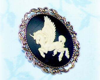 Unicorn Pegasus Brooch Pin Cameo Victorian Antique Vintage Inspired Gothic Winged Horse Style Steampunk Gold Style