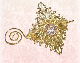 Shawl Pin Brooch Victorian Gold Vintage Style Scarf Pin Hair Slide Edwardian Filigree Antique Inspired Stick Pin