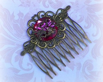 Victorian Hair Comb Pink Vintage Style Bridal Rose Gyspy Boho  Steampunk Wedding Gothic Bohemian Reproduction