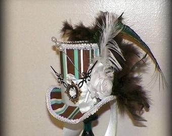 On Sale- Fasinator Mini Top Hat Brown Green White Tea Party Steampunk Headdress Cosplay Costume Wonderland