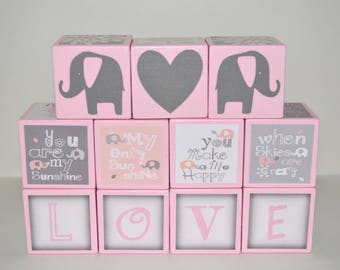 Baby Name Blocks-Personalized Wooden Blocks-Baby Girl Nursery Decor-Baby Shower Decorations-Pink and Grey Elephant-Handmade Baby Shower Gift