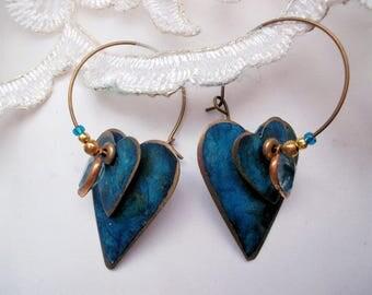 Hoop earrings vintage hearts original hippie 70s glasshearts bronze hippie earrings blue Boho earrings bronze hoops