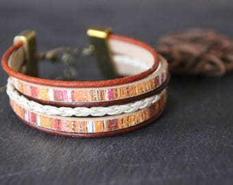 Cuff Bracelet, leather, Brown, orange, and Ribbon multicolor imitation leather, bronze clasp