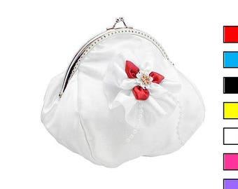 white and red bride handbag, bridal clutch bag, womens purse bag in wedding, formal, purse white bag, bridesmaid clutch handbag 1405-05