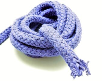 1 meter of braided rope in purple cotton, 9 mm