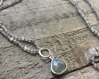 Labradorite (Winter Solstice) Hand Knotted Silk Thread Necklace