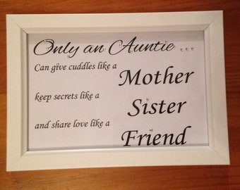 Auntie frame, Aunty frame, Auntie gift, Auntie keepsake, gift for aunties