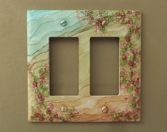 Mint/Sand Floral- Light Switch Cover, Painted with Alcohol Ink