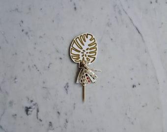 Mini Monstera Leaf Cake Topper / Gold Modern Calligraphy / Custom Hand Lettered / Gold Tassel / Mini Tassels Balloon / Birthday Wedding/