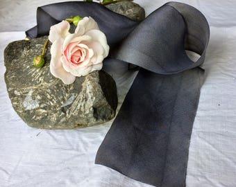SLATE Plant-dyed silk ribbon / styling ribbon / floral arrangements / naturally dyed / hand dyed / habotai ribbon / wedding ribbon