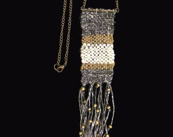 Handwoven cotton and linen necklace with brass chain and beads