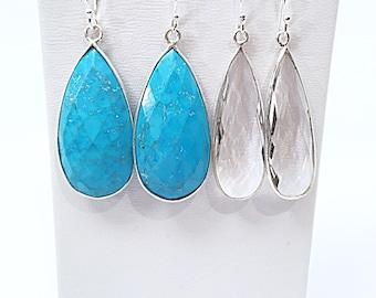 Turquoise or Rock Crystal Tear Drop Dangle Earrings in Sterling Silver Bezel, Pear Turquoise Earrings, Pear Faceted Rock Crystal Earrings