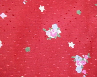 Beautiful floral silk, Burgundy background fabric
