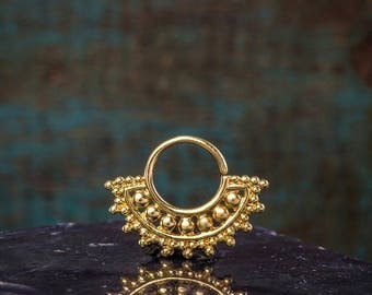 SALE Gold Septum Ring For Pierced Nose, Septum Jewelry, Tribal Septum, Gold Plated, Septum Ring 18g, Tragus, Helix, Cartilage Earring
