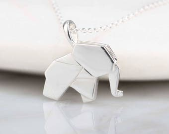 Stunning Silver Origami Elephant Necklace