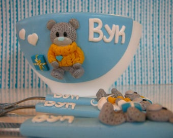 Teddy Bear,Cutlery for Kids,Baby Keepsake Dish,Children's Cutlery,Me to You,Child's Dining Set,Personalized,Gift for Birthday,Baby set,Kids