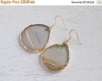 SUMMER SALE Statement Earrings, Natural Geode Earrings, Slice Agate Earrings, Large Gemstone Earrings, Agate Earrings, Clip-on Earrings, Gif