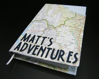 Personalized travel journal with map on cover - also great for smash book or scrapbook