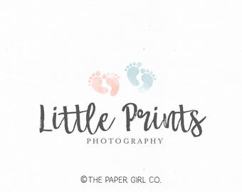 baby footprint logo photography logo foot print logo newborn logo photographer logo premade logo design baby logo children's logo watermark