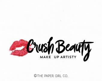 lips logo beauty logo make up artist logo cosmetology logo premade logo lipstick logo make up logo  lipgloss logo beauty branding logo