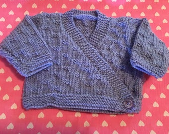Baby Girl's Handknitted Acrylic Ballet Style Crossover Cardigan Approx Age Newborn Various Colours