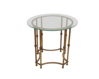 Vintage Gold Metal Faux Bamboo French Regency Accent Table Hollywood  Regency Chinoiserie Metal Bamboo Table