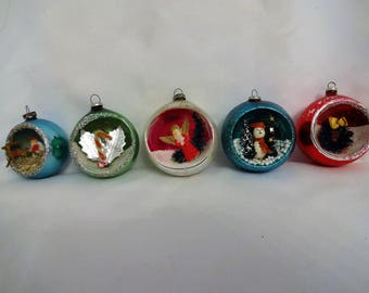 Christmas Ornament Vintage Glass with Scenes from Japan