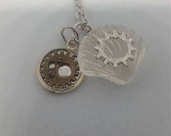 Resin and gear charm necklace