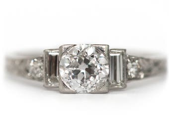 Circa 1920's Art Deco Platinum .50ct Old European Cut Diamond Engagement Ring-VEG 905