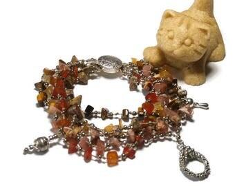 Bohemian bracelet, MULTISTRAND, pink, orange, semi precious stones