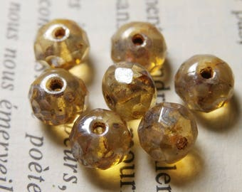 10 faceted beads, 7X5mm, champagne finish R710 picasso