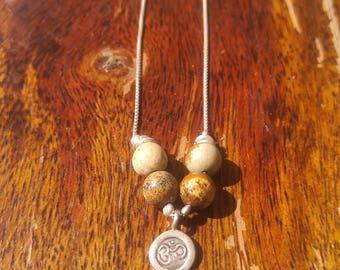 Om Jasper Silver 925 Necklace