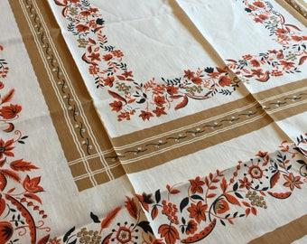 Vintage New Old Stock Fall Tablecloth   Hadeli Japan   Cotton Rayon  Tablecloth   Fall Decor