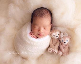 Angel's Wings Sparkle Fluff - newborn photo prop - shimmery wool basket stuffer