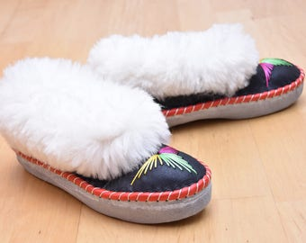 Women's Natural Leather, wool, slippers, shoes, boots, Very light and comfy! Good gift! Genuine. Valentine's Day