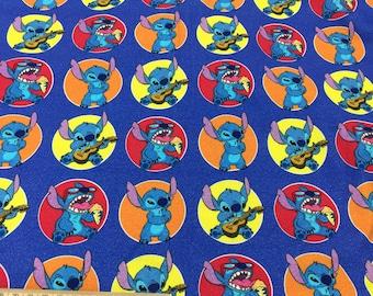 lilo stitch digital printing, brushed poly knit / minky / Swim jersey fabric - - 1 meter