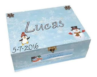 Winter Wonderland Time Capsule Box, Keepsake Box, Trinket box, Treasure box, Memory Box, Wooden Box, Personalised Box, Baby Box