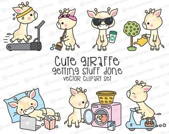 Premium Vector Clipart - Kawaii Giraffe - Cute Giraffe Planning Clipart - Instant Download - Kawaii Clipart