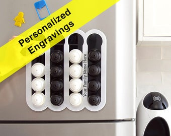 Personalized engraving Dolce Gusto Coffee Pod Holder, Custom Name Gift Coffee Storage Kitchen Accessory, Magnetic Wall Mount kitchen Decor
