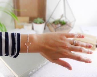 Minimalist bracelet, Sterling Silver circle bracelet, geometric bracelet, gift for her, stacking bracelet, dainty bracelet, chain bracelet