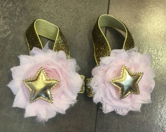Twinkle little star Pink and gold barefoot sandals, gold star birthday sandals, photo prop