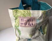 Storage Basket, linen/cotton fabrics upcycled from fabric sample book with teal liner