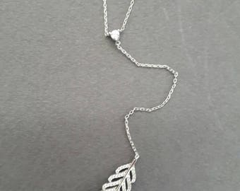 feather leaf drop charm lariat necklace with white zircons, 925 sterling silver