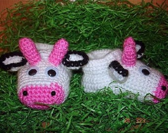 """Translation tutorial """"cows"""" baby booties"""