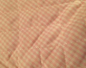 """Pink Gingham quilted back backing batting quilt girl baby infant 60"""" x 40"""""""