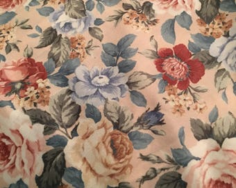 "Vintage Shabby cottage Blue pink yellow roses polyester sewing fabric 67"" x 33"""