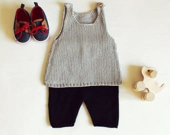 Hand-knit baby top - grey